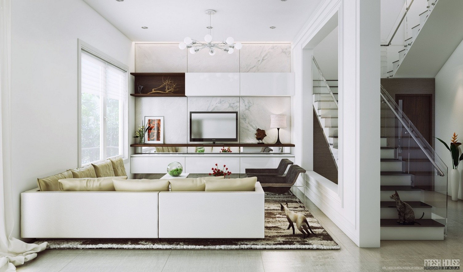 Contemporary White Living Room Beautiful Chic Contemporary Spaces Rendered by Anh Nguyen