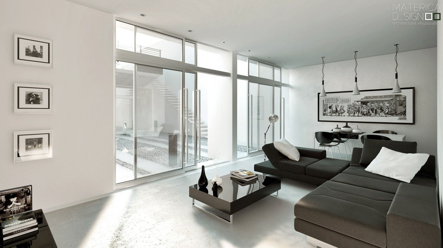 Contemporary White Living Room Elegant Modern Style Architectural Renders
