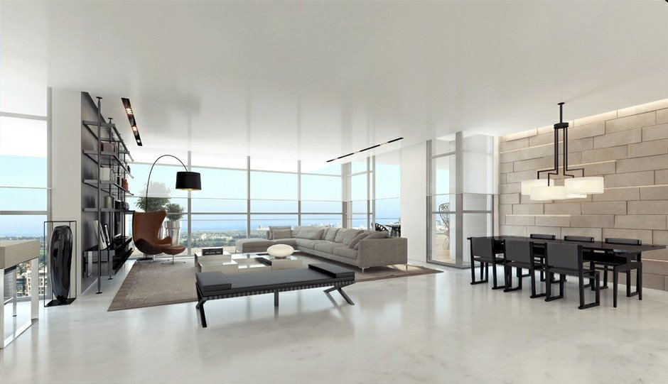 Contemporary White Living Room New Living Rooms with Great Views