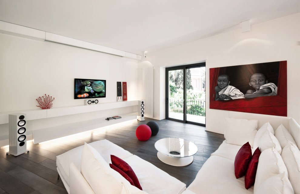 Contemporary White Living Room New Red & White Apartment