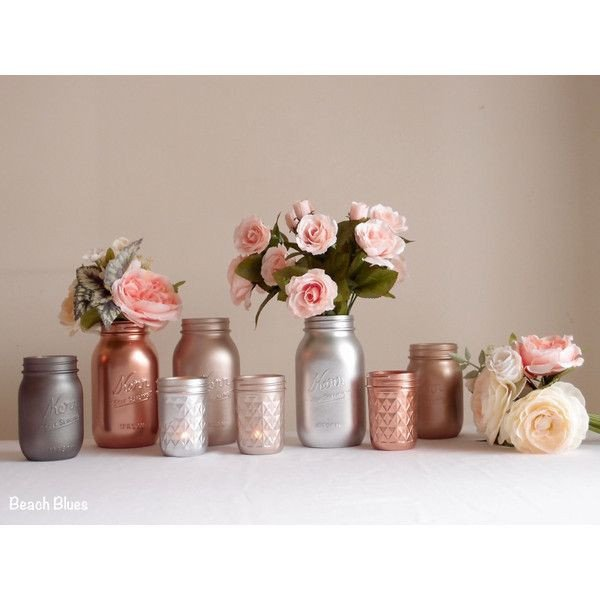 Copper Home Decor and Accessories Beautiful Blush Rose Gold Wedding Decor Centerpiece Metallic Mason Jars Copper 172 040 Cop Liked On