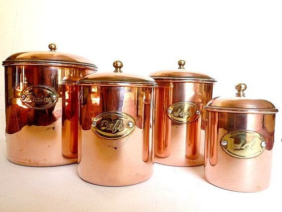 Copper Home Decor and Accessories Luxury French Copper Canisters Housewares Kitchen Decor by Cabartvintage $85 00 Home