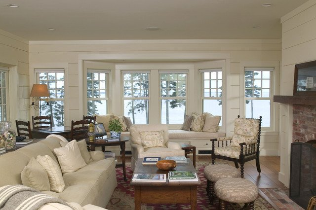 "Cottage Traditional Living Room Inspirational A New Maine ""cottage"" Traditional Living Room Boston by Knight associates"