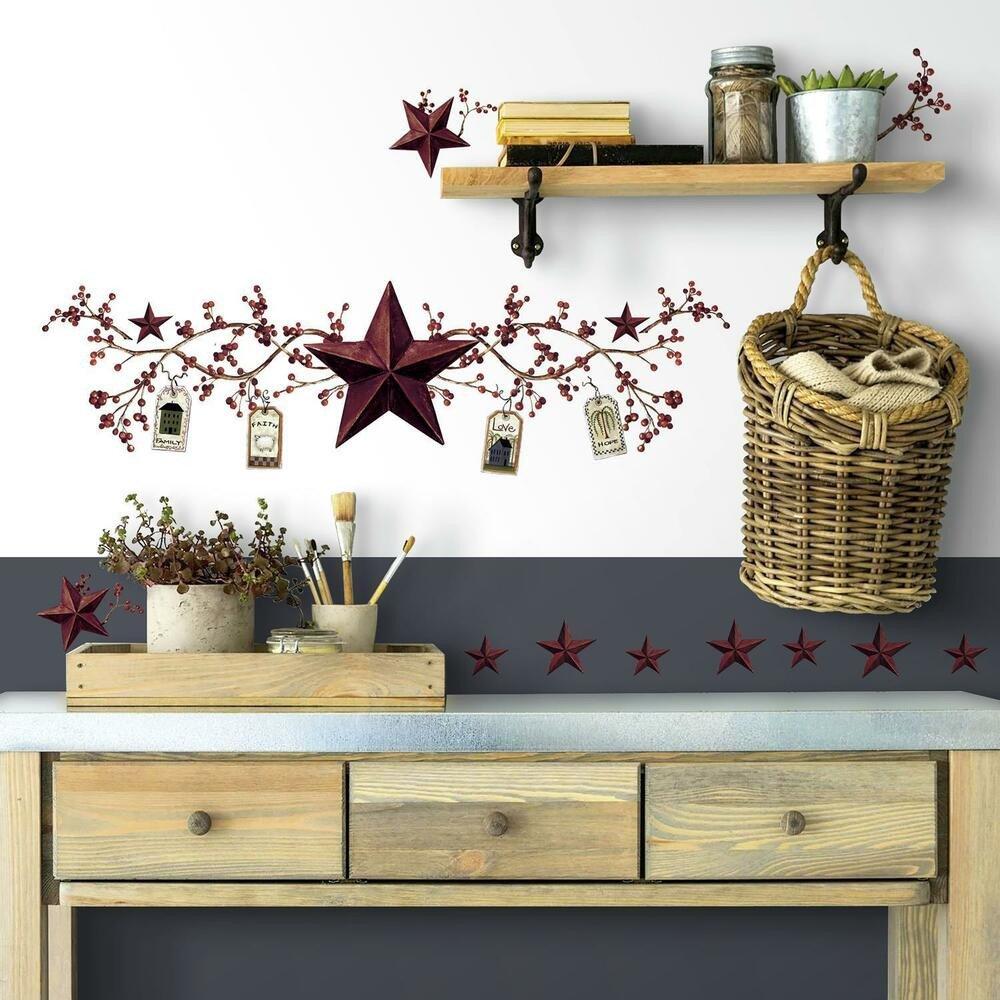 Country Kitchen Wall Decor Ideas Beautiful Stars and Berries Wall Decals Country Kitchen Stickers Rustic Primitive Decor