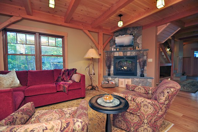 Cozy Traditional Living Room Lovely Cozy Timberframe Lake House Traditional Living Room Boston by All In the Details