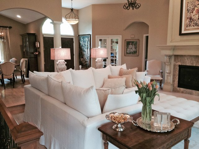 Cozy Traditional Living Room Luxury Slipcovered Sectional In Cozy Living Room Traditional Living Room Los Angeles by