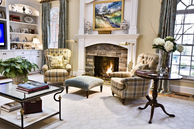 Cozy Traditional Living Room New Cozy Fire and Club Chairs Traditional Living Room Richmond by Kirsten Nease Designs