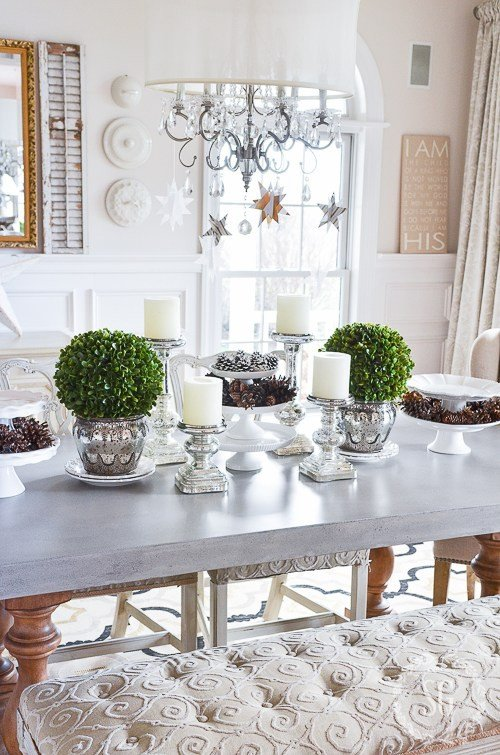 Decor Dining Room Table Centerpiece Beautiful Winter White Dining Room Centerpiece Stonegable