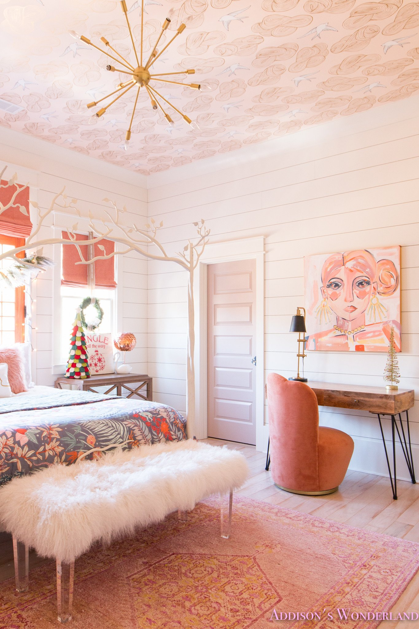Decor for Little Girls Rooms Awesome A Little Christmas Decor In Addison S Coral Girl S Bedroom with Shaw Floors