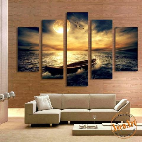 Decor for Living Room Wall Beautiful 5 Panel Sunset Seascape Painting Single Boat Picture for Living Room H – Ellaseal
