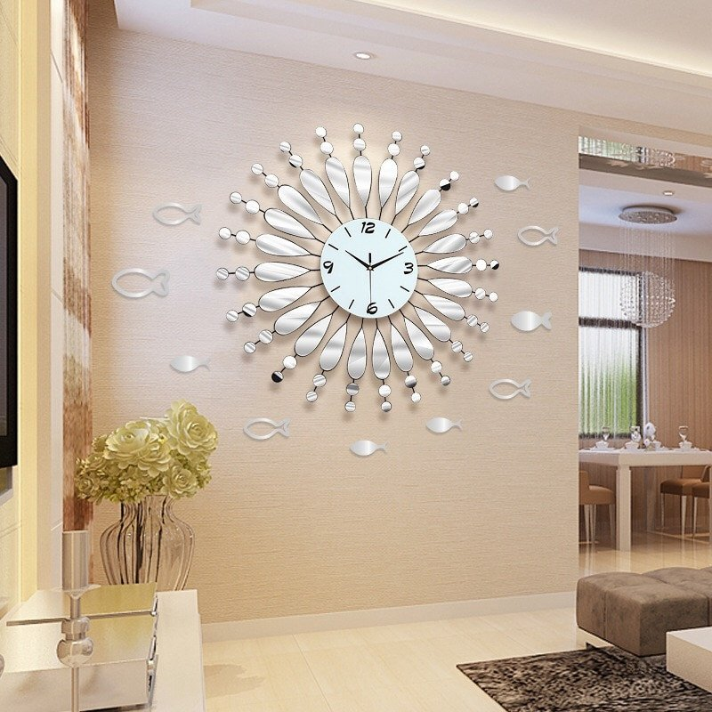 Decor for Living Room Wall Inspirational 3d Wall Clock Modern Design Living Room Acrylic Mirror Decorative Wall Watches Non Ticking Wall