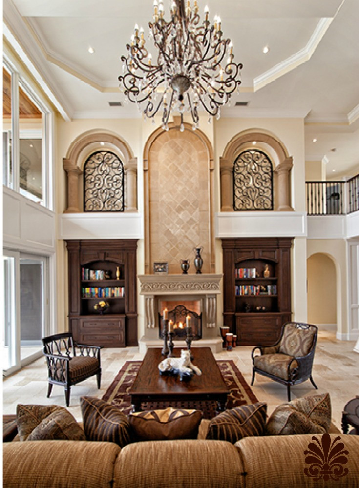 Decor Ideas for Family Room New Family Room with High Ceilings and Old World Charm Mediterranean Decor