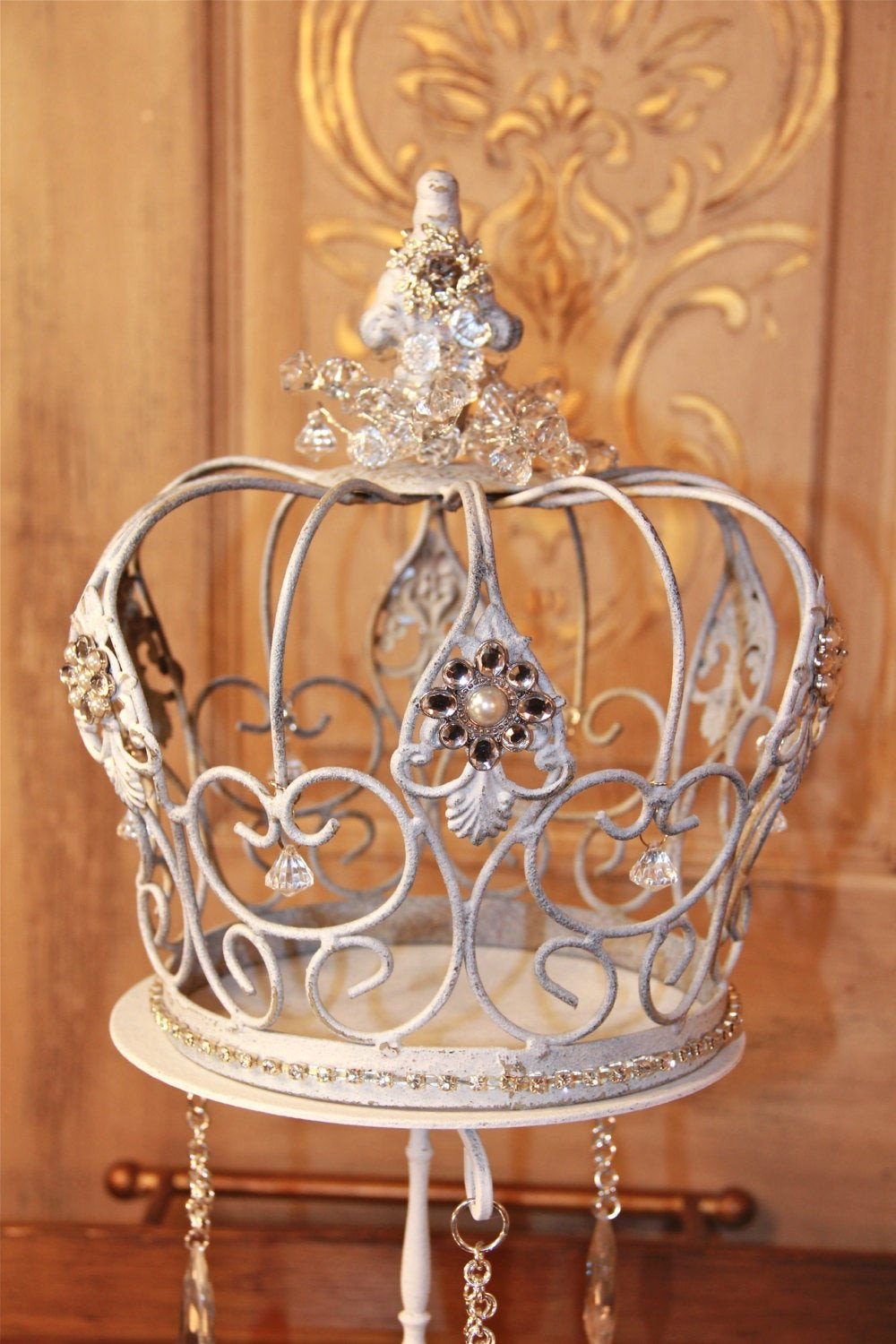 Decorative Crowns for Home Decor Luxury Embellished White Metal Crown Decorative Crown Wedding