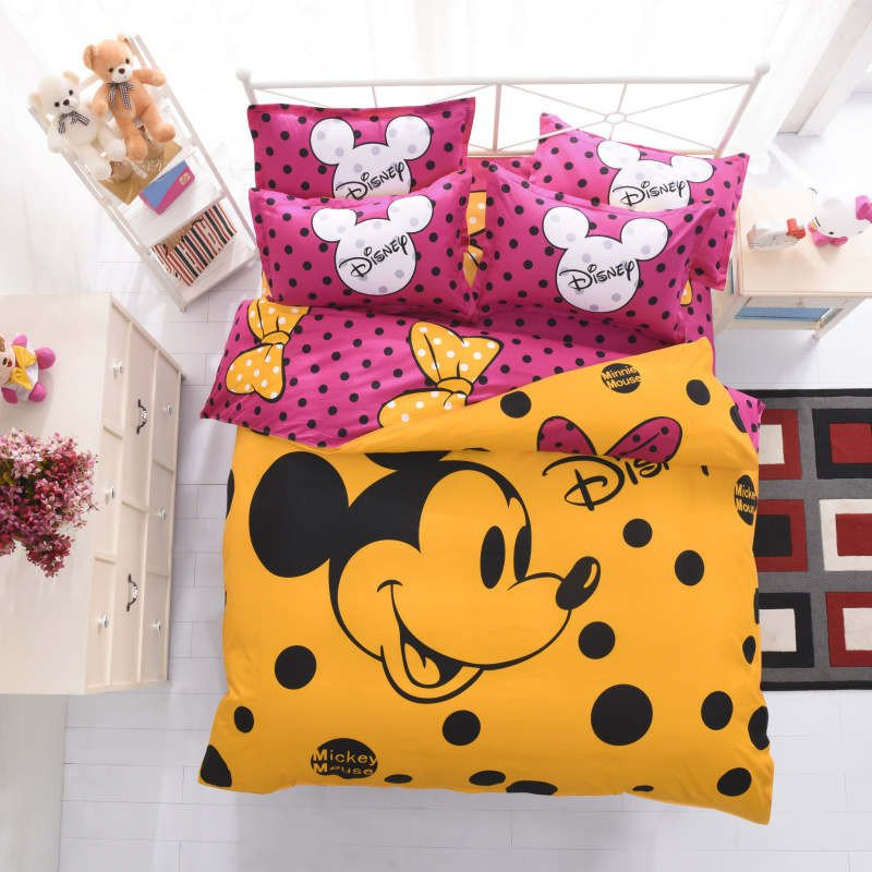 Disney Home Decor for Adults Luxury Mickey Mouse Bedding Sets Queen Disney Cartoon Duvet Cover Kids Adult Home Decor 4pcs Single