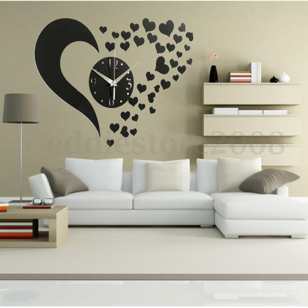 Diy Living Room Wall Decor Luxury Diy 3d Black Love Sticker Home Modern Mirror Wall Clock Living Room Decor New
