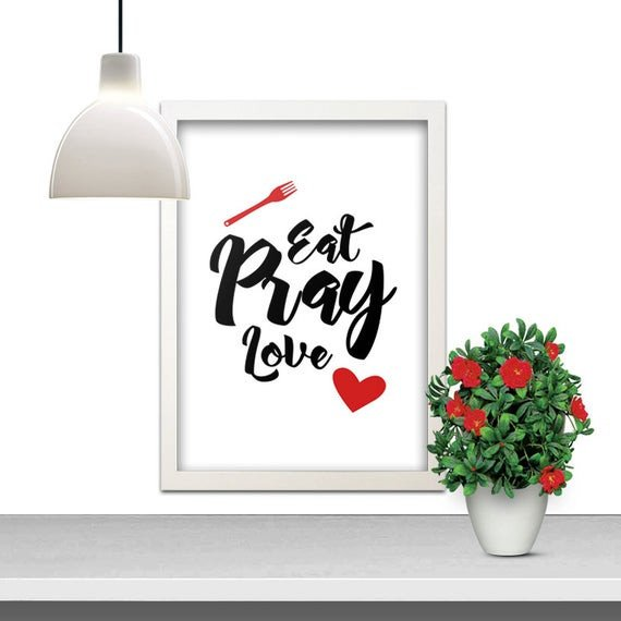 Eat Pray Love Kitchen Decor Elegant Eat Pray Love Red Heart fork Food Dining Black by Indulgemyheart