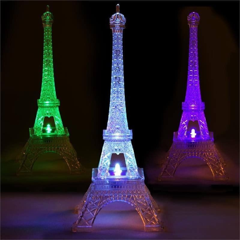 "Eiffel tower Decor with Lights Beautiful 10"" Led Light Changing Acrylic Eiffel tower Centerpiece Wedding Party wholesale"