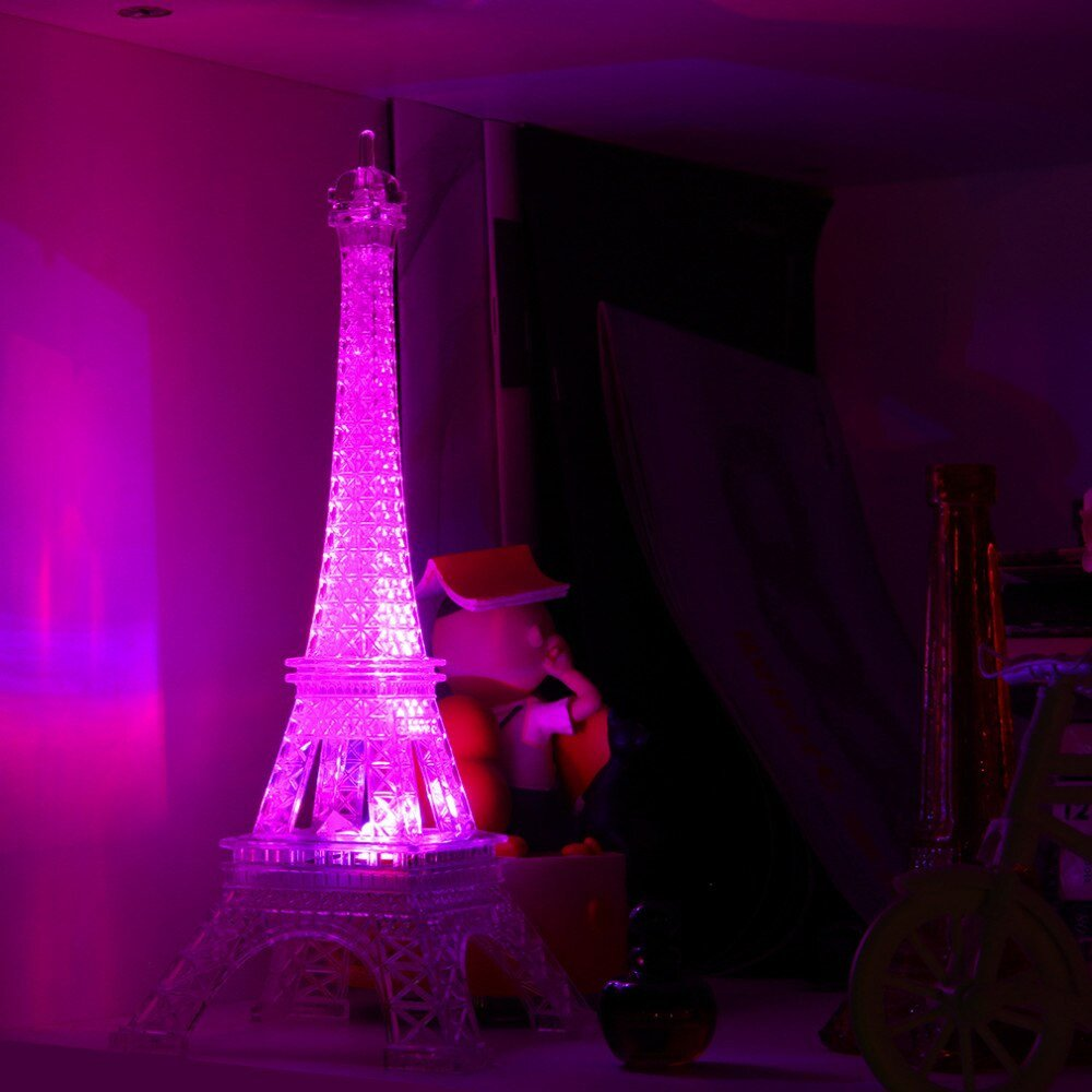 Eiffel tower Decor with Lights Beautiful Led Color Change Romantic Eiffel tower Led Night Light Bedroom Home Decor Lights Worldwide Store