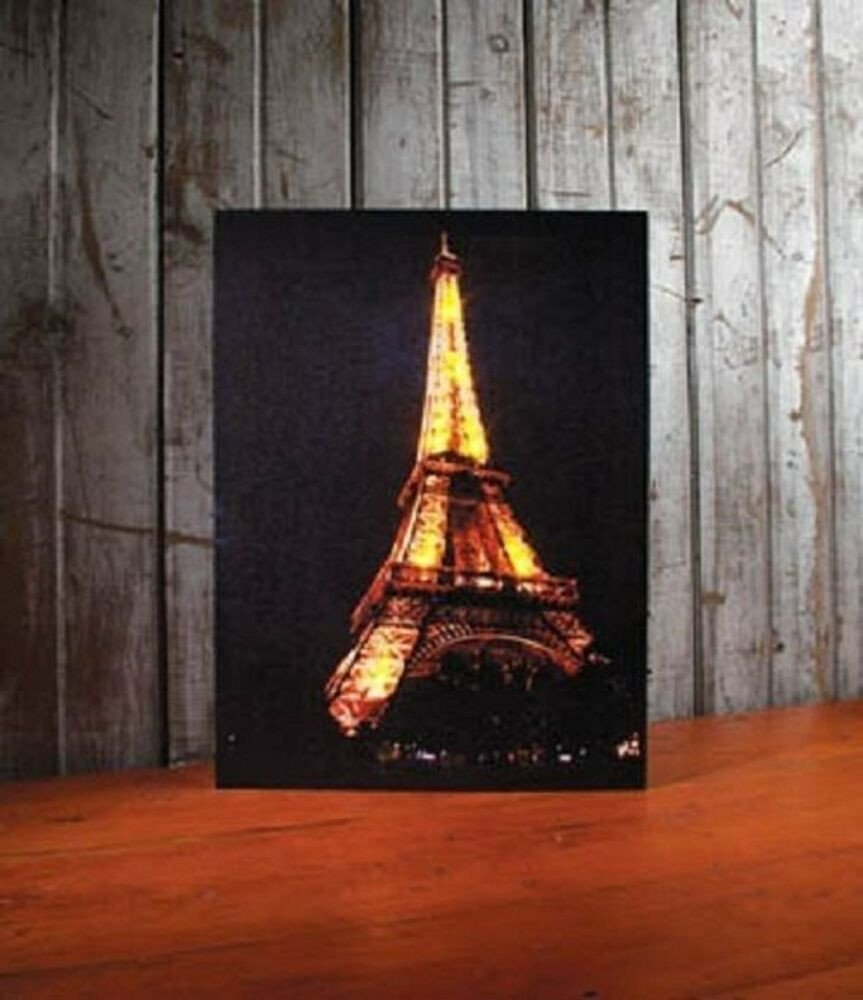 Eiffel tower Decor with Lights Inspirational Eiffel tower Paris France Lighted Canvas Wall Decor Sign New Free Shipping