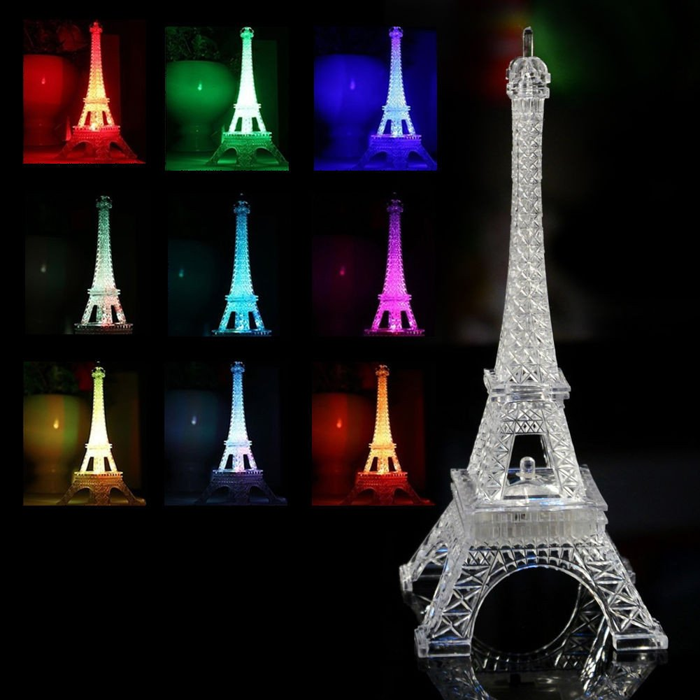 Mini Romantic Eiffel Tower Home Wedding Night Light Decor Table LED Lamp Gift