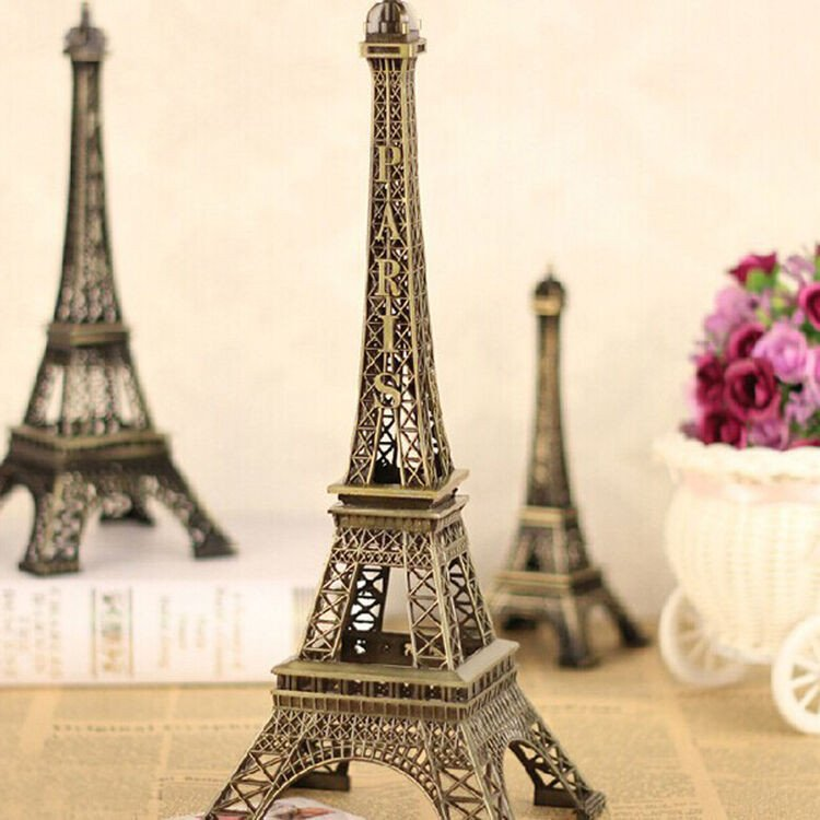 Eiffel tower Decor with Lights Luxury Bronze Mini Eiffel tower Decor Figurine Accent Paris French theme Metal Statue