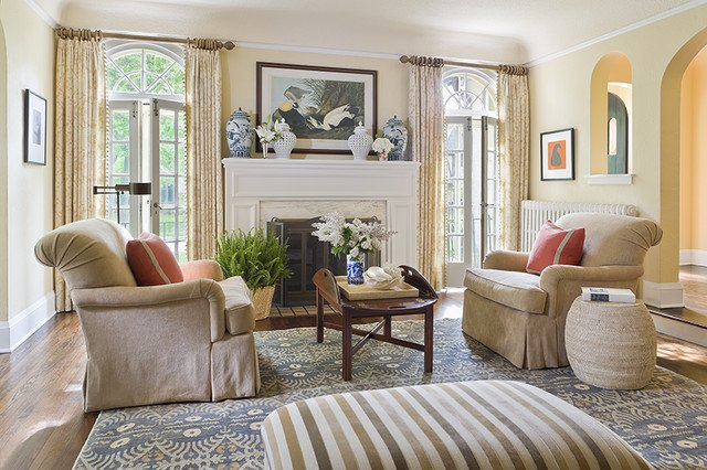 English Colonial Traditional Living Room Minneapolis by Lucy Interior Design