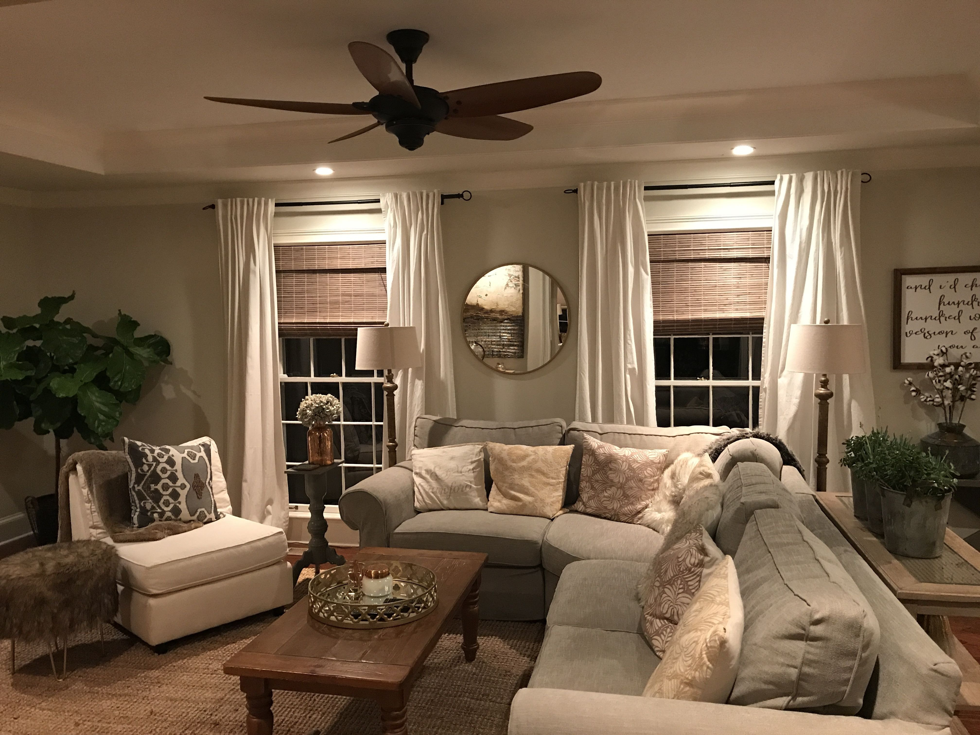 Farmhouse Living Room Curtains Decor Ideas Lovely Cozy Modern Farmhouse Family Room with A Natural Jute Rug Grey Slip Covered sofa Woven Wood