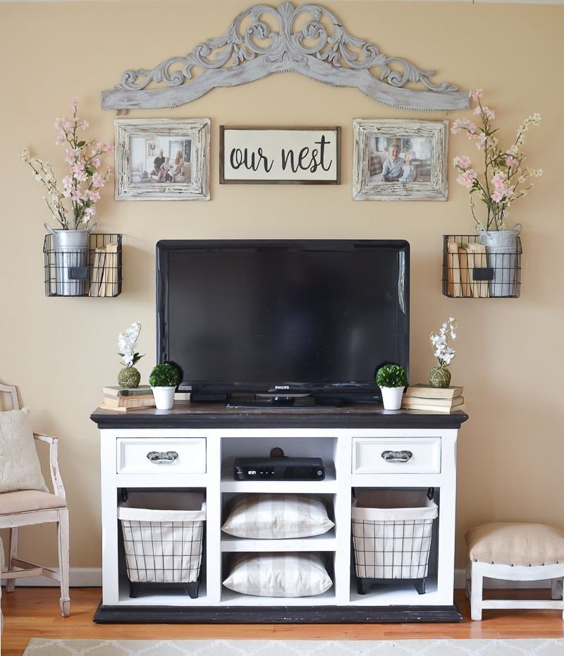 Easy Farmhouse Style TV Stand Makeover decorating ideas