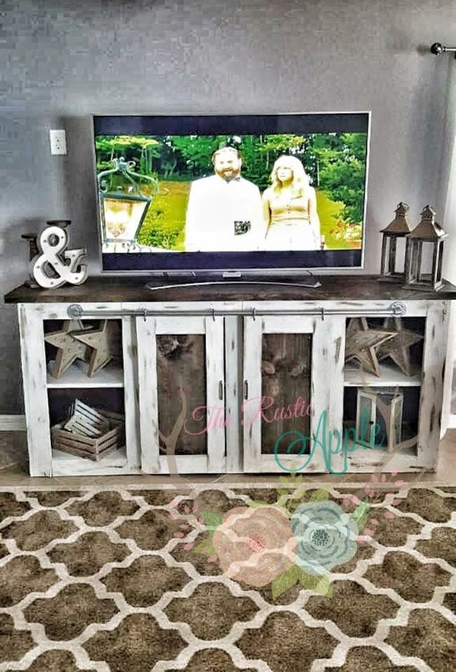 Farmhouse Tv Stand Design Ideas and Decor Inspirational Rustic Meets Industrial Media Stand Plumbing Pipe Sliding Barn Doors Finished with Chalk Paint