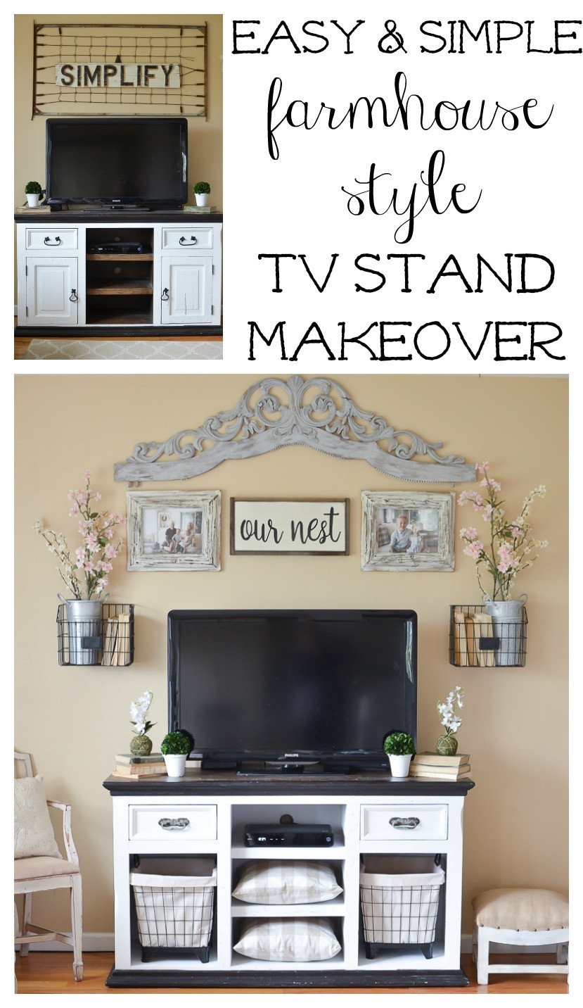 Farmhouse Tv Stand Design Ideas and Decor Luxury Easy Farmhouse Style Tv Stand Makeover Little Vintage Nest