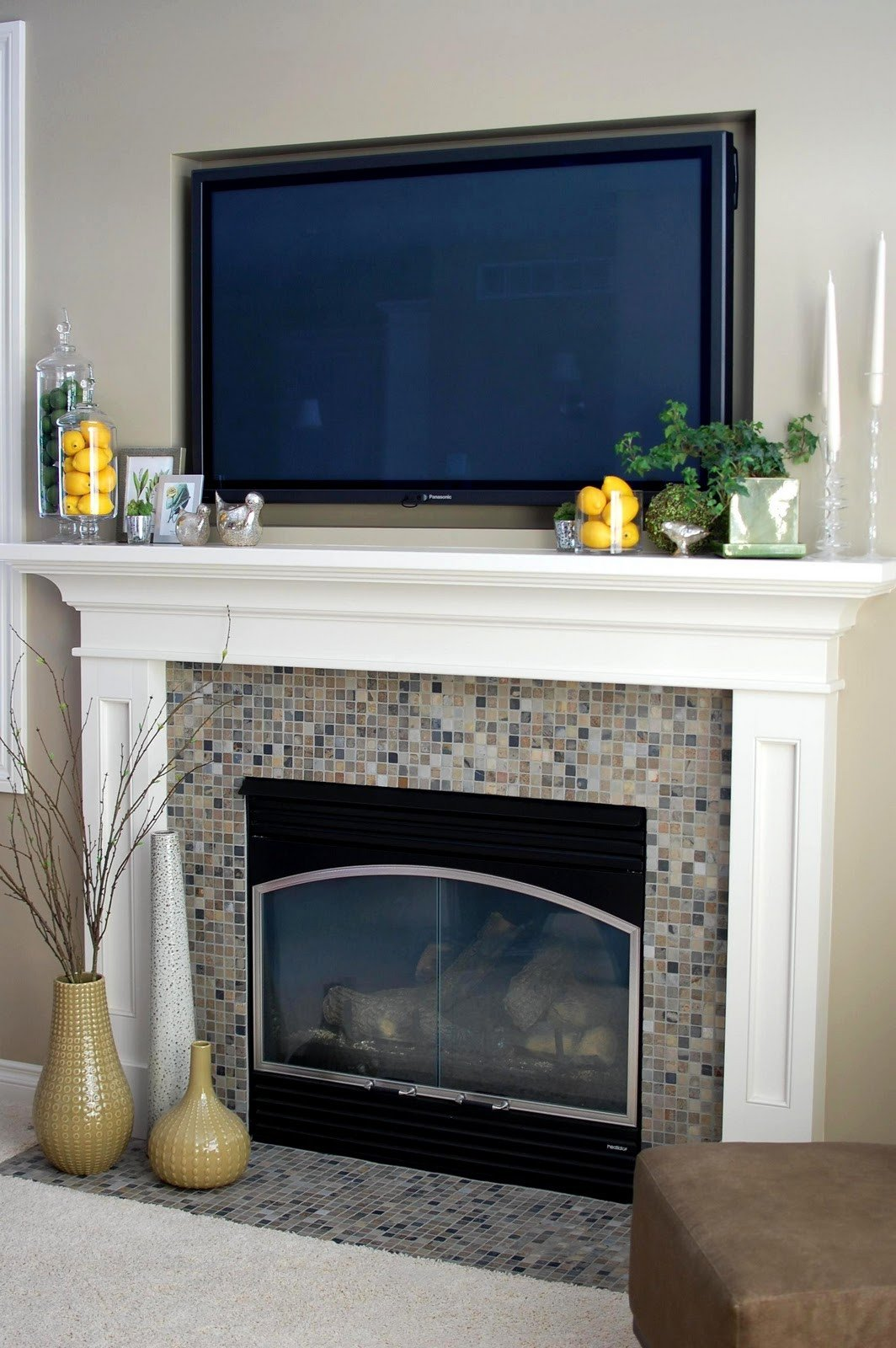 Fireplace Mantel Decor with Tv Awesome Remodelaholic