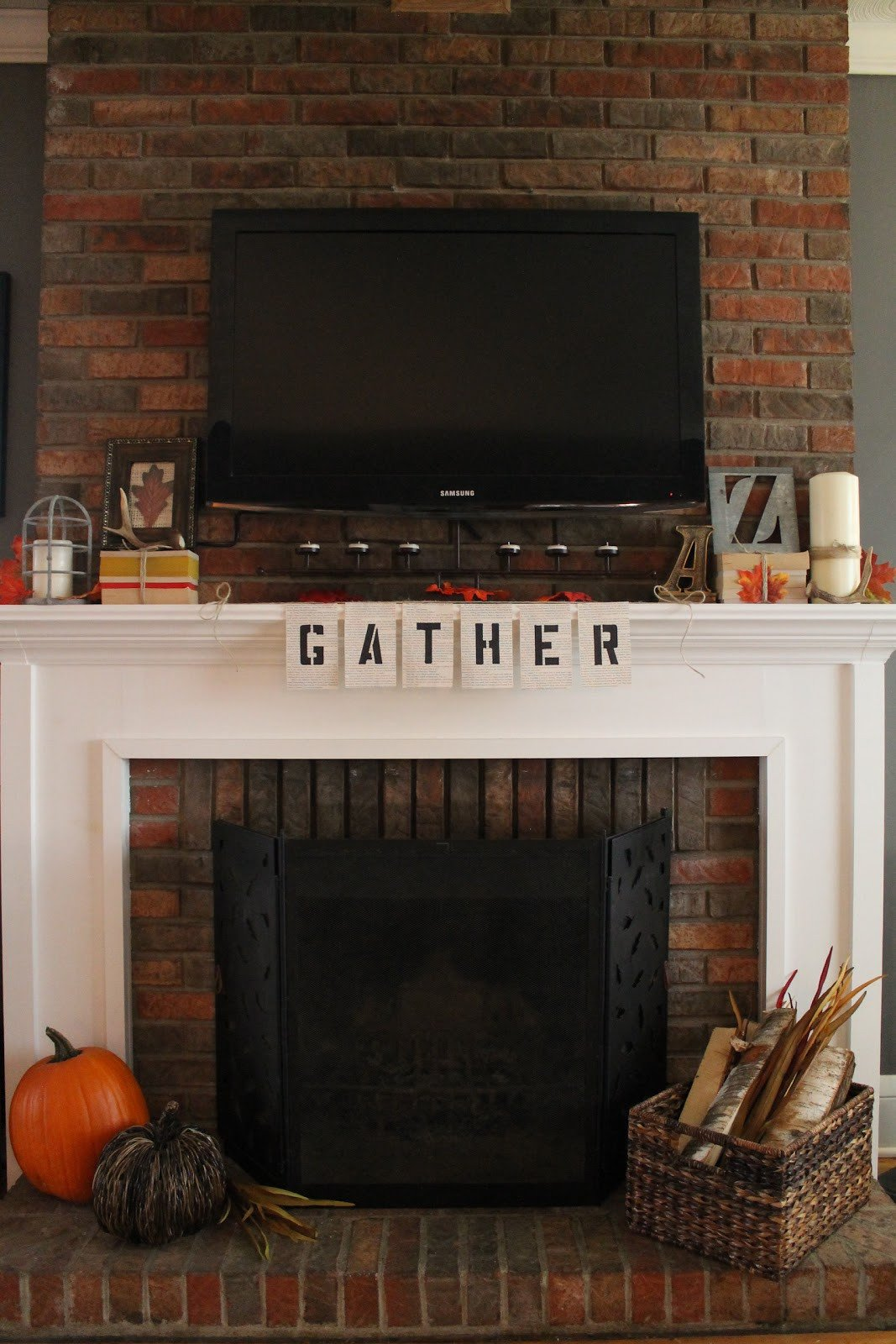 Fireplace Mantel Decor with Tv Best Of Hammers and High Heels Gather Round Our Fall Fireplace Mantel