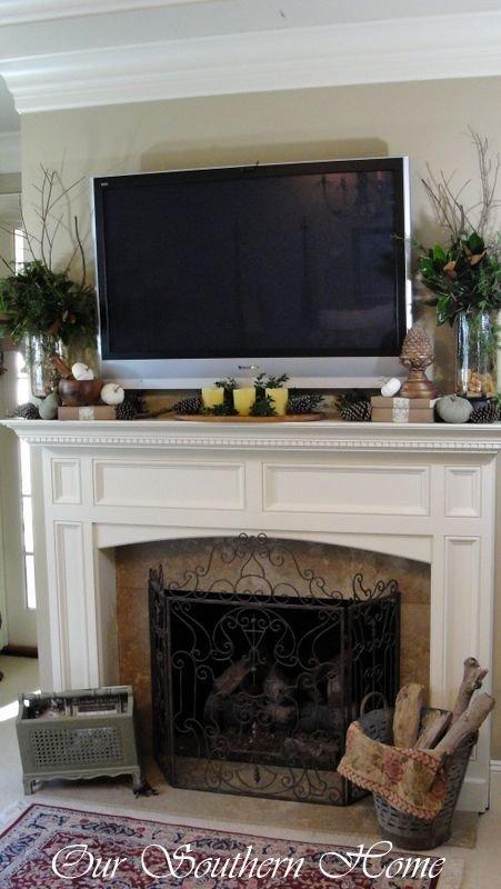 Fireplace Mantel Decor with Tv Elegant Tv Mantle On Pinterest