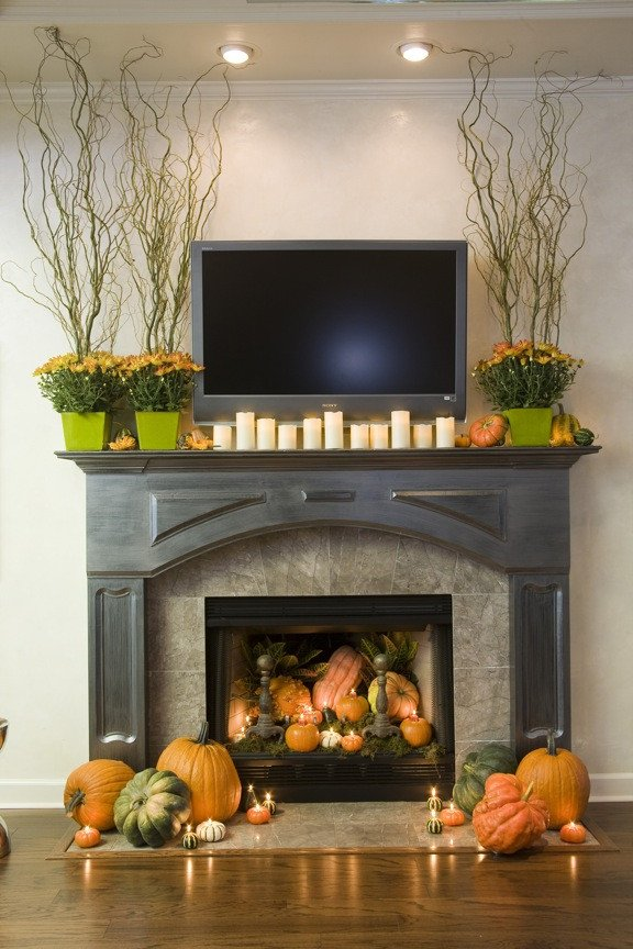 Fireplace Mantel Decor with Tv Inspirational Sure Fit Slipcovers Decorating with Pumpkins