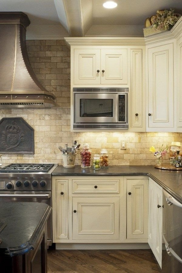 Floor and Decor Backsplash Tile Luxury Mediterranean Kitchen Design Travertine Tile Backsplash White Cabinets Wood Flooring