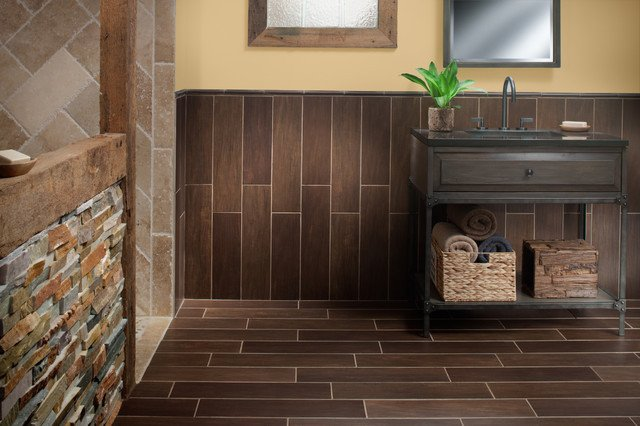 Floor and Decor Bathroom Tile Luxury Exotica Walnut Wood Porcelain Tile Contemporary Bathroom by Floor & Decor
