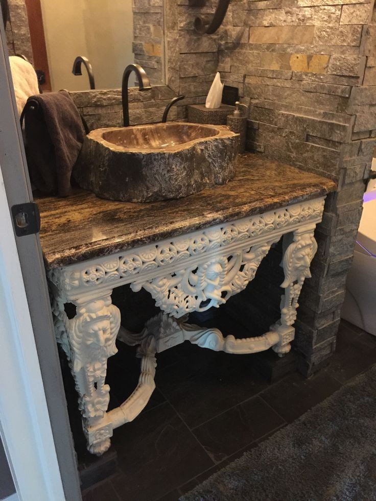 Floor and Decor Bathroom Vanities New Our Castle Old World Powder Room with Stone From Floor & Decor Used to Frame Mirror and Walls In