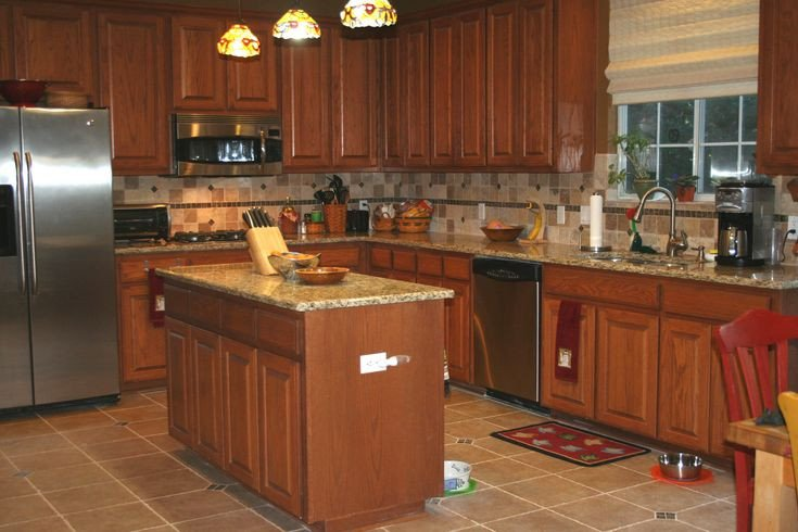 Floor and Decor Kitchen Backsplash Fresh Back Splash Designs for Kitchen with Beige and Brown Granite Counter tops with Oak Cabinets