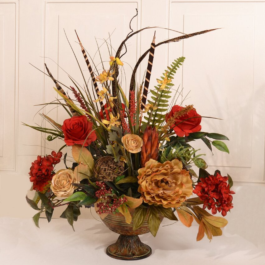 Flower Arrangements for Home Decor Beautiful Floral Home Decor Silk Flower Arrangement with Feathers & Reviews