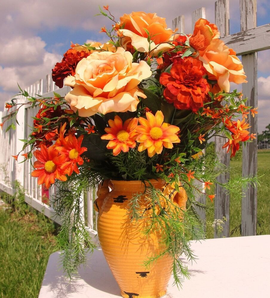 Flower Arrangements for Home Decor Elegant Tuscan orange Vase Roses Silk Floral High End Designs Home Decor Rustic Italy