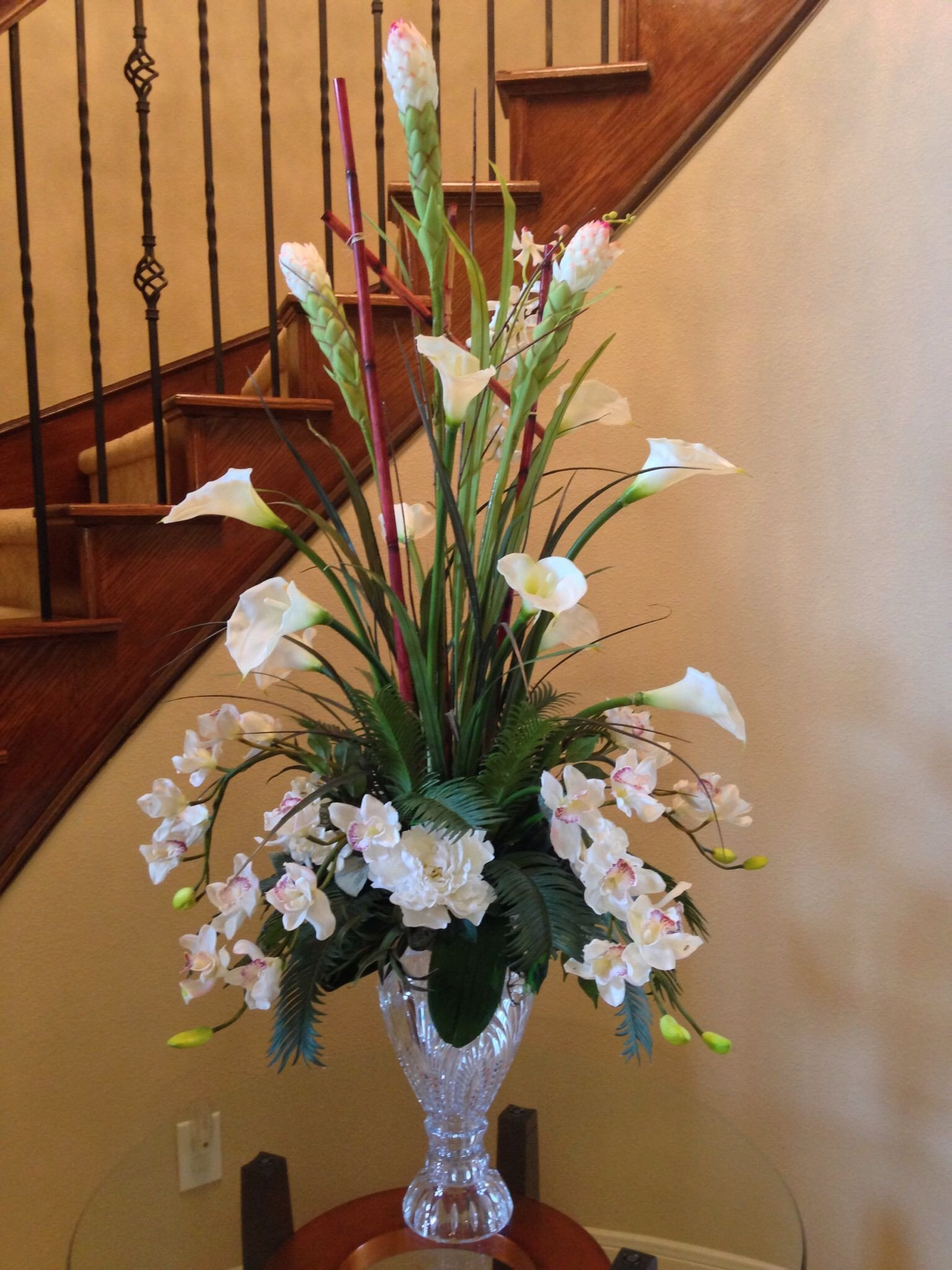 Flower Arrangements for Home Decor Inspirational Calla Lily with orchid Flower Arrangement for Perfect Foyer or Staircase by Arcadia Floral and