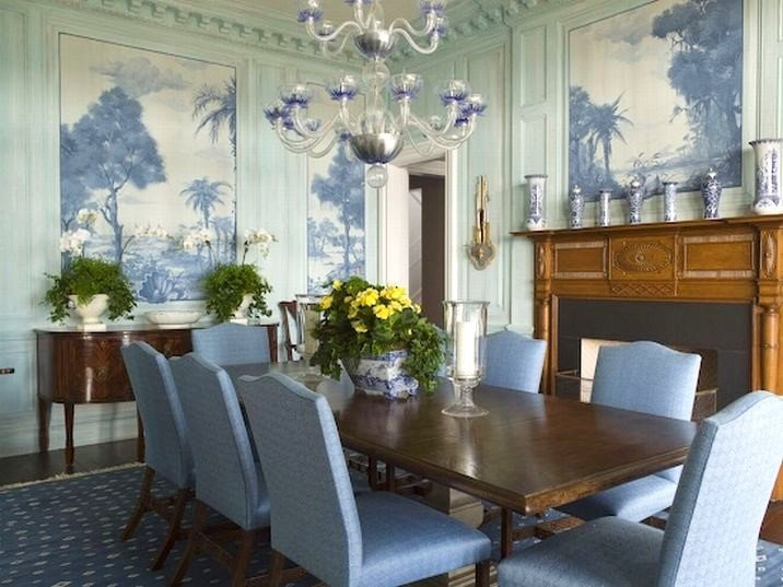 Formal Dining Room Wall Decor Beautiful Eye for Design Decorating with Blue