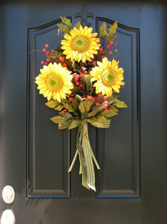 Front Door Decor for Summer Elegant Items Similar to Sunflower Bouquet Front Door Decor Summer Wreath On Etsy