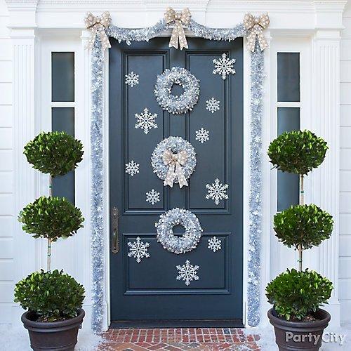 Front Door Decor for Winter Beautiful Silvery Snowdrift Front Door Idea Party City