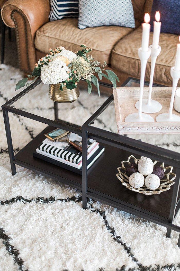 Glass Coffee Table Decor Ideas Unique My Living Room tour the Brunette E