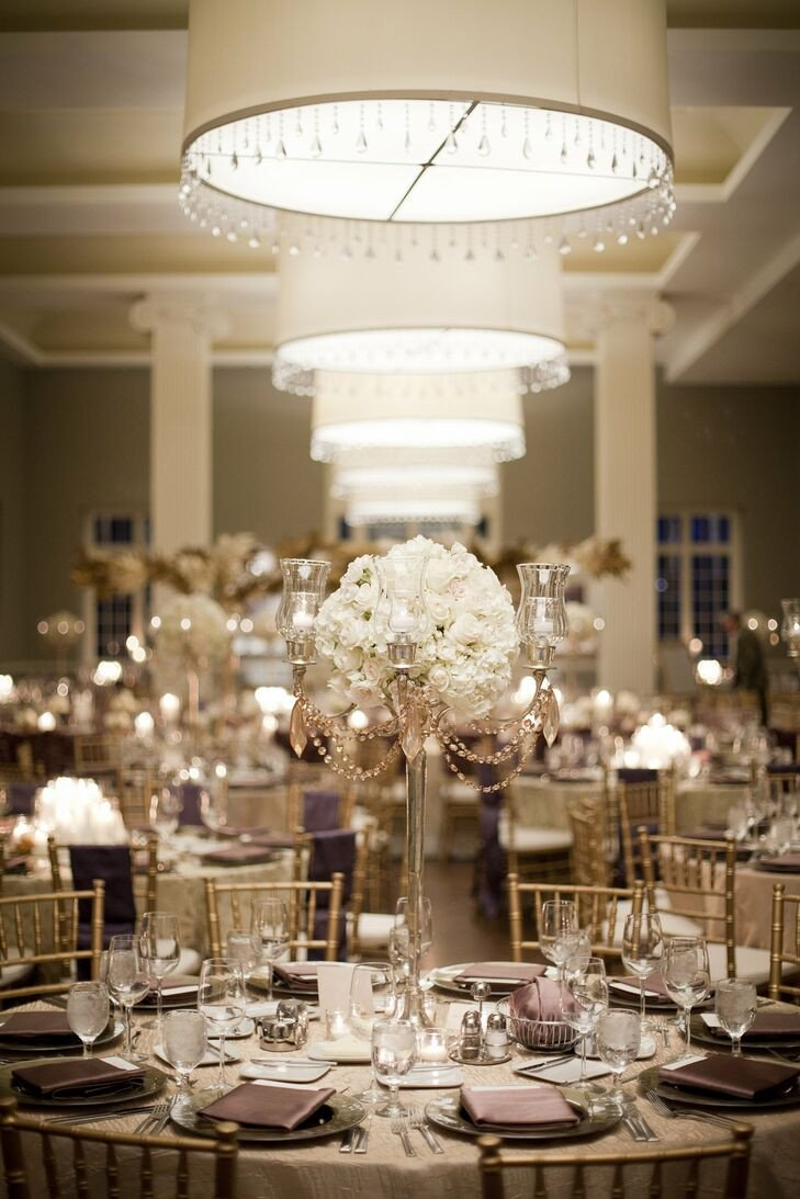 Gold and Silver Wedding Decor Awesome Gold Candelabra and Ivory Rose Centerpieces