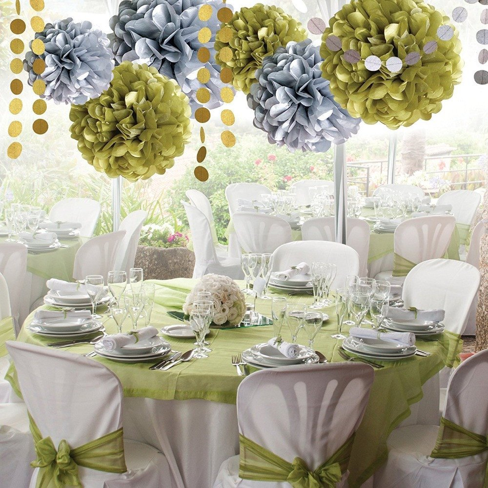 Gold and Silver Wedding Decor Lovely Zilue 8pcs Set Silver Gold Circular Folded Paper Flower Ball Party Supplies Wedding Decoration