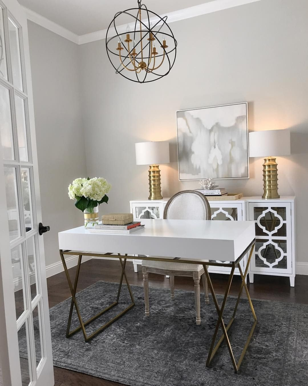 Gold and White Office Decor Beautiful Home Office Inspiration White and Gold Desk White Mirrored Sideboard Gold Table Lamps Gray