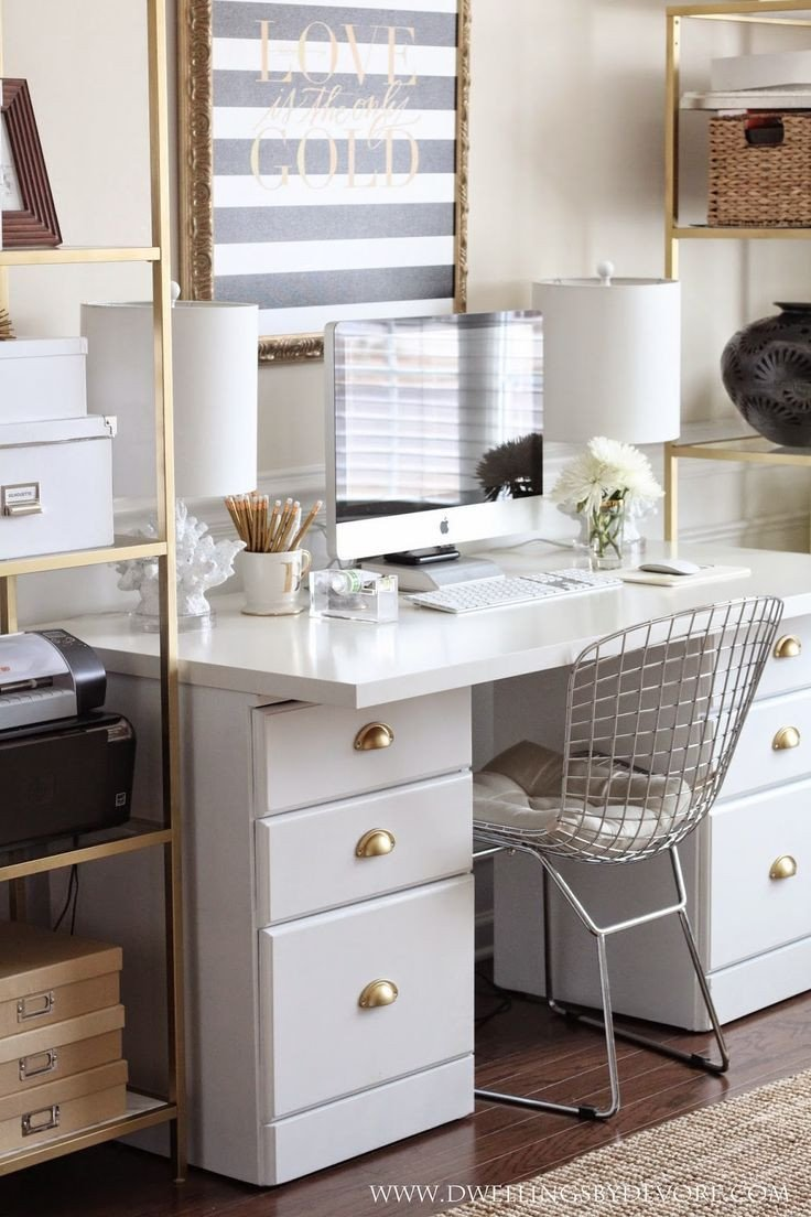 Gold and White Office Decor Best Of White Black & Gold Office Fice Style In 2019