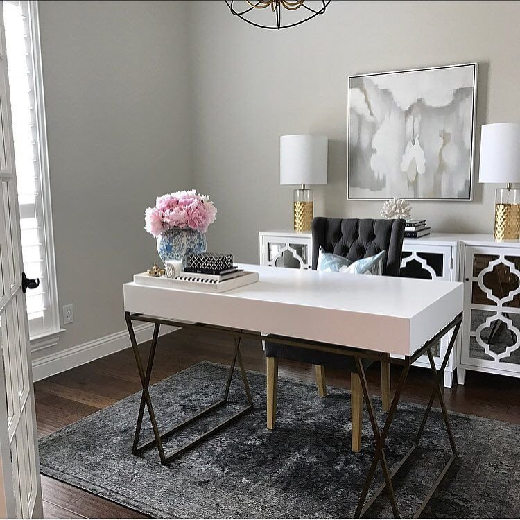 Gold and White Office Decor Elegant Home Office Inspo White and Gold Office Desk Classic Gray Paint Glam Office Decor Pink